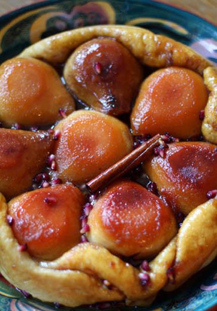 pear pomegranate tarte tatin