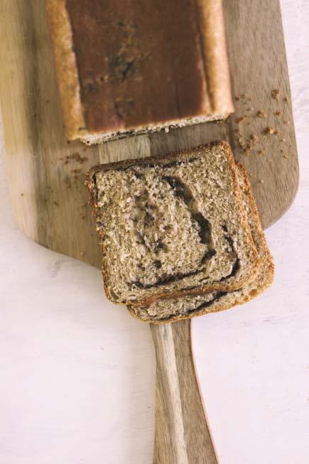 Tapenade bread on peel