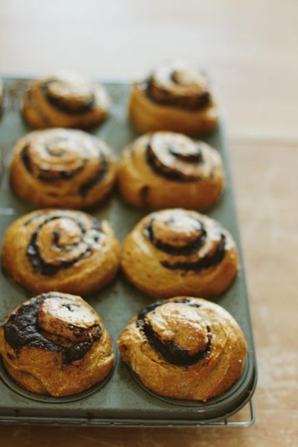 Pumpkin Swirl Buns with Chocolate Ganache | Bread in 5